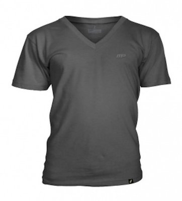 MusclePharm Embroidered V Neck Grey Fitness Kleding