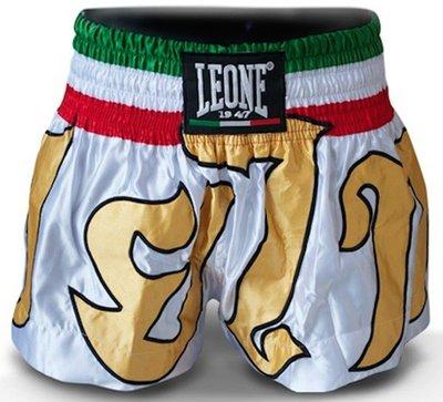 Leone Kick Thai Boxing Shorts White Gold - AB742