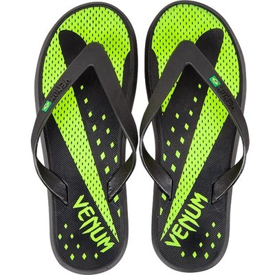 Venum Hurricane Sandals Flip Flop Slippers Black Neo Yellow
