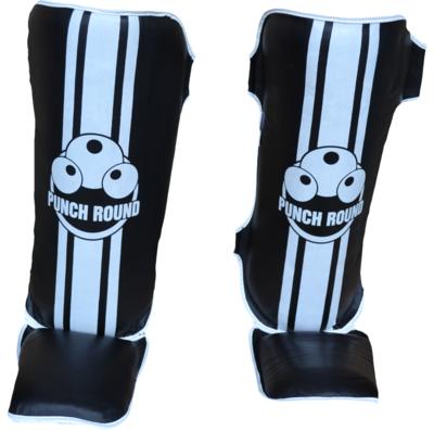 Punch Round Kids Kickboks Scheenbeschermer Zwart Wit