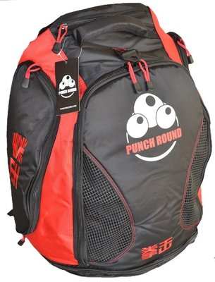 Punch Round™ Boxing Sporttas Gym Bag Black Red