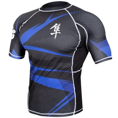 Metaru 47™ Rashguard Hayabusa® Short Sleeve Black Blue