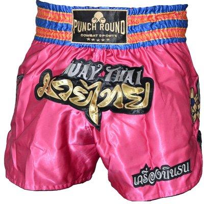 Punch Round™ Thaiboks Broekje Flower Kickboxing Shorts Pink MT11