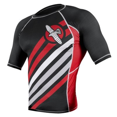 Hayabusa Elevate Rash Guard S/S Black Red MMA Shop