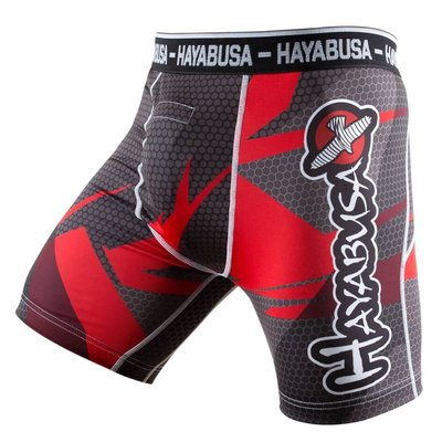 Hayabusa Metaru 47 Silver Compression Shorts Red