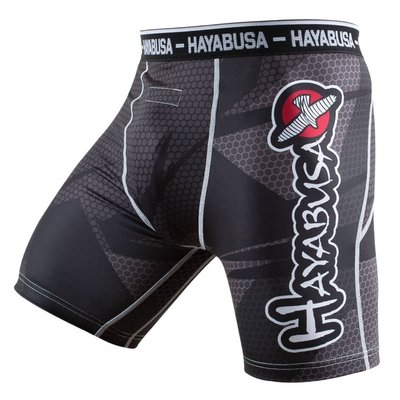 Hayabusa Metaru 47 Silver Compression Shorts Black