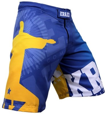 Krakenwear MMA Fight Shorts SFX Wanna Get Free Blue
