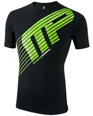 MusclePharm Stripe Sportline T Shirt Black Green