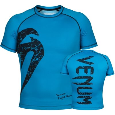Venum Original Giant Rash Guard Cyan Black S/S BJJ Winkel