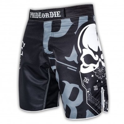 PRIDEorDIE MMA Fightshorts Reckless Black White