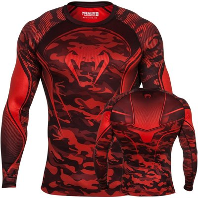 Venum Camo HERO Compression T Shirt L/S Rash Guard Red Black