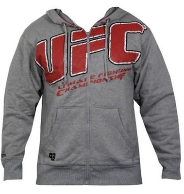 UFC Cage Raised Hoody Grey UFC Clothing