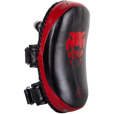 Venum Kick Pads Leather Black Red Kickboks Producten