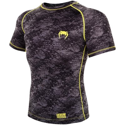Venum Tramo Rashguard S/S Black Yellow MMA Kickboks Winkel