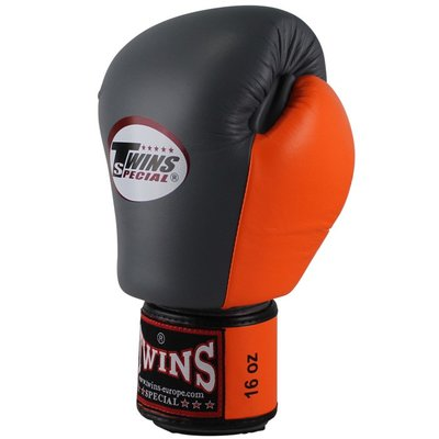 Kickboks Bokshandschoenen Twins BGVL 3 Grey Orange Leder