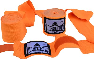 Punch Round™ Perfect Stretch Hand Wraps Neo Orange Bandages 460 cm