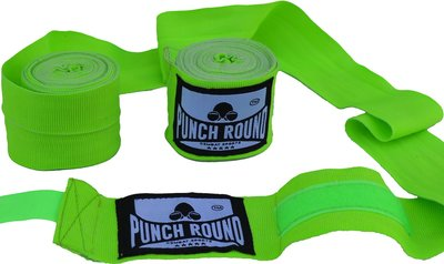 Punch Round™ Perfect Stretch Hand Wraps Neo Green Bandages 460 cm