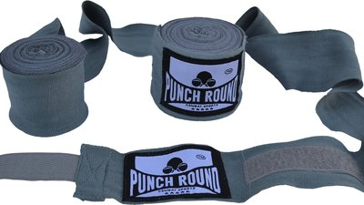 Punch Round™ Perfect Stretch Hand Wraps Grey Bandages 460 cm