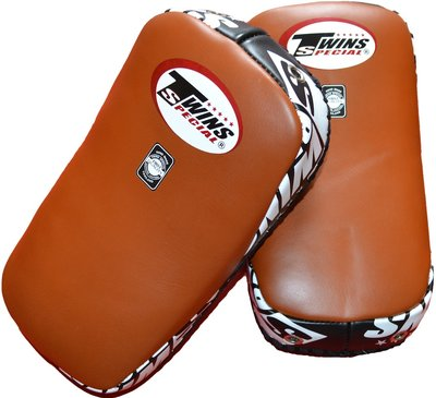 Twins Curved Arm Pads Kick Pads TKP 18 Leather Brown Black