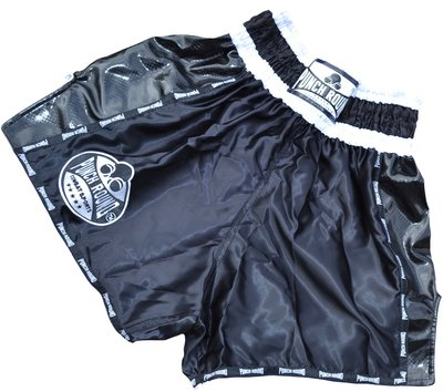 Punch Round™ Carbon Black Thaiboks Broekje Kickboxing Shorts