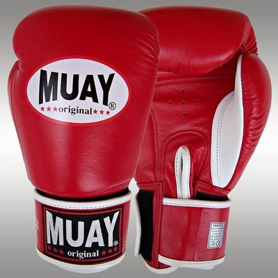 MUAY® Kickboks Bokshandschoenen Red Leather Boxing Gloves