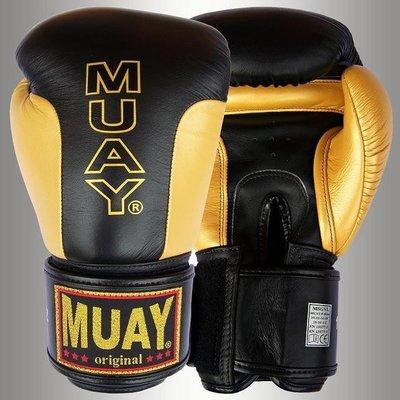 MUAY Premium Bokshandschoenen Black Gold Leather Boxing Gloves