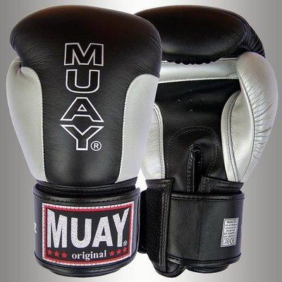 MUAY® Premium Bokshandschoenen Black Silver Leather Boxing Gloves