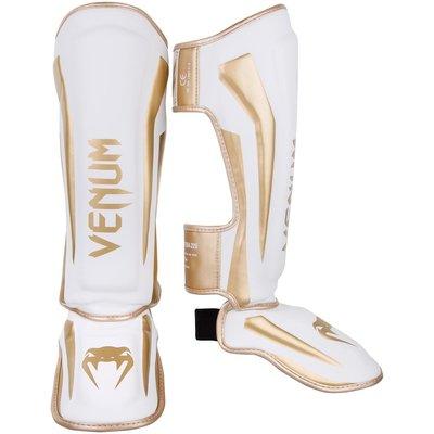 Venum Elite Stand Up Kickboks Scheenbeschermer Wit Goud