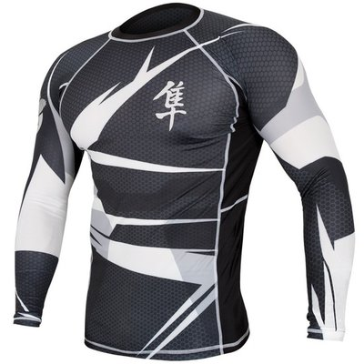 Metaru 47™ Rashguard Hayabusa® Long Sleeve Black White