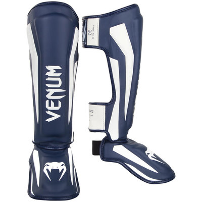 Venum Shinguards Scheenbeschermer Elite Navy Blue White