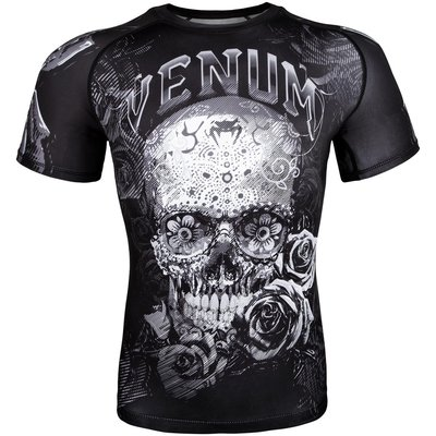 Venum Rash Guards Santa Muerte 3.0 S/S Zwart Wit