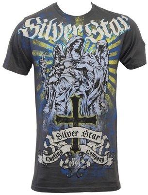 Silver Star Fallen Angel Foil T Shirt Grey