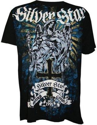 Silver Star Fallen Angel Foil T Shirt Black size S