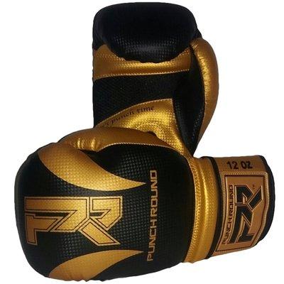 Punch Round Bokshandschoenen SLAM Mat Carbon Zwart Goud