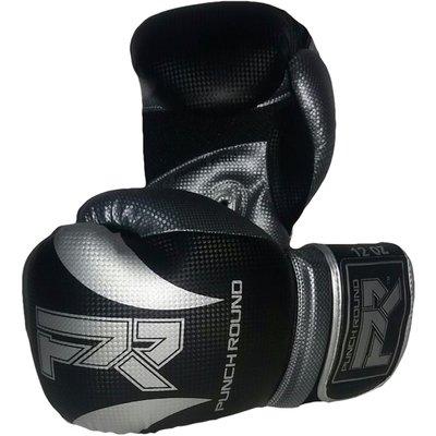 Punch Round Bokshandschoenen SLAM Mat Carbon Zwart Zilver