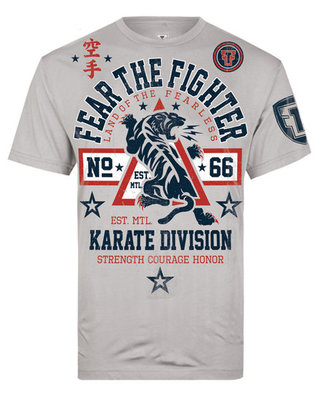 Fear the Fighter Karate T Shirts Grey