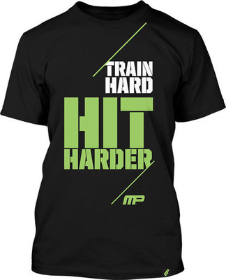MusclePharm T Shirts Train Hard Hit Harder Black