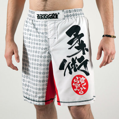 SCRAMBLE Fightshorts Kamon White by Scramble Fightwear