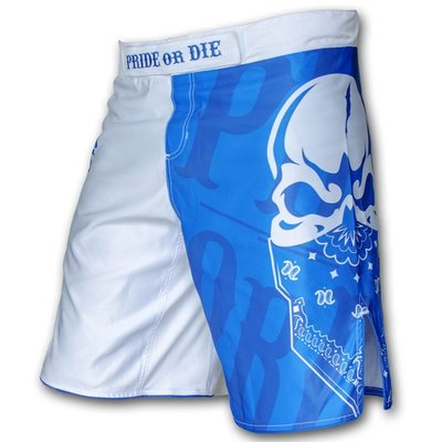 PRIDEorDIE MMA Fightshorts Reckless Blue White
