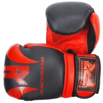 Punch Round Bokshandschoenen SLAM Mat Carbon Zwart Rood