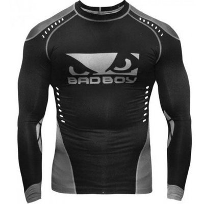 Bad Boy Sphere Compression Top Rash Guard L/S Black Grey