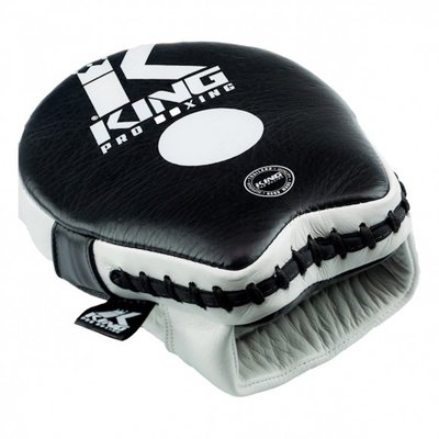 King Pro Boxing KPB Punching Mitts Pads Leather Black Ice