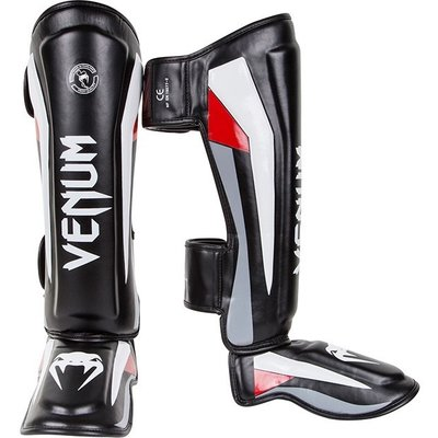 Venum Kickboks Scheenbeschermer ELITE Shinguard Black Red Grey