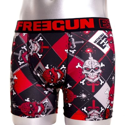 Freegun Underwear Men Original Boxershorts Skull Black Red