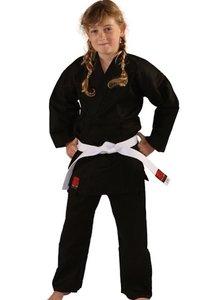 Karatepak Kensu Zwart Karate Gi met Witte Band Essimo