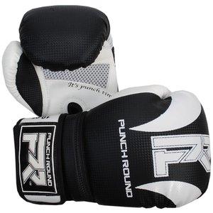 Punch Round Bokshandschoenen SLAM Mat Carbon Zwart Wit