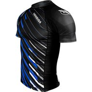 Hayabusa Metaru Charged Rash Guard S/S Black Blue BJJ Winkel