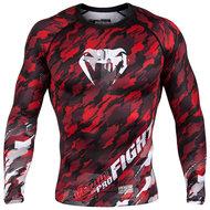 Venum Kleding Tecmo Rashguard L/S  Black Red Venum Fightshop Nederland